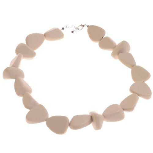 Jackie Brazil Matt Finish Flintstones Resin Necklace in Boheme Natural Beige